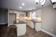 long view of kitchen island