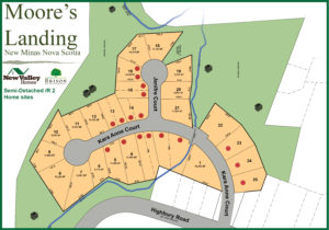 Map off available semi-detacched / duplexx lots in Moore's Landing located in New Minas Annapolis valley of NS.