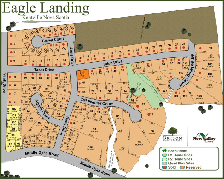 lot map available land in Eagle Landing, Kentville NS Annapolis Valley