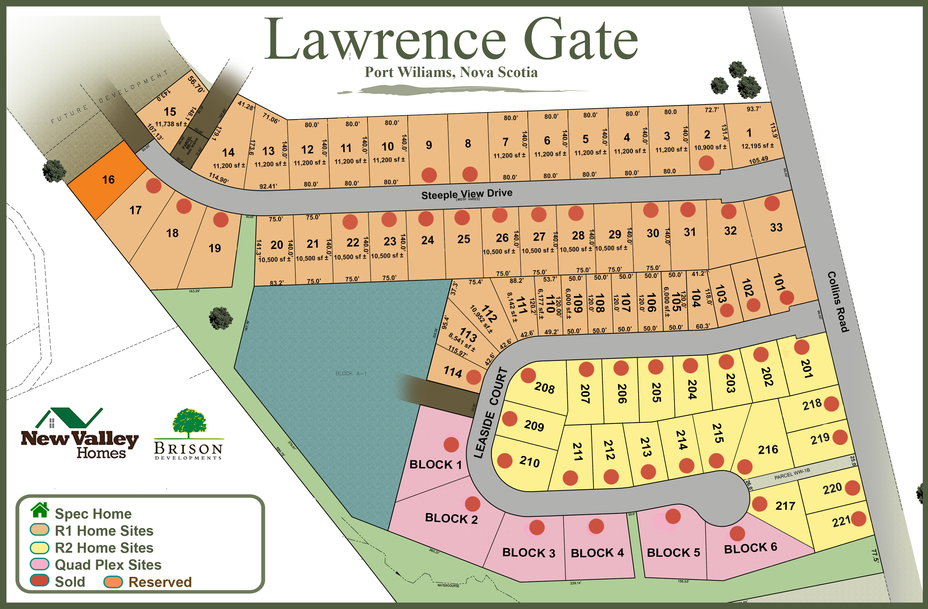 Available lots and Sold Lots Home Sites Port Williams